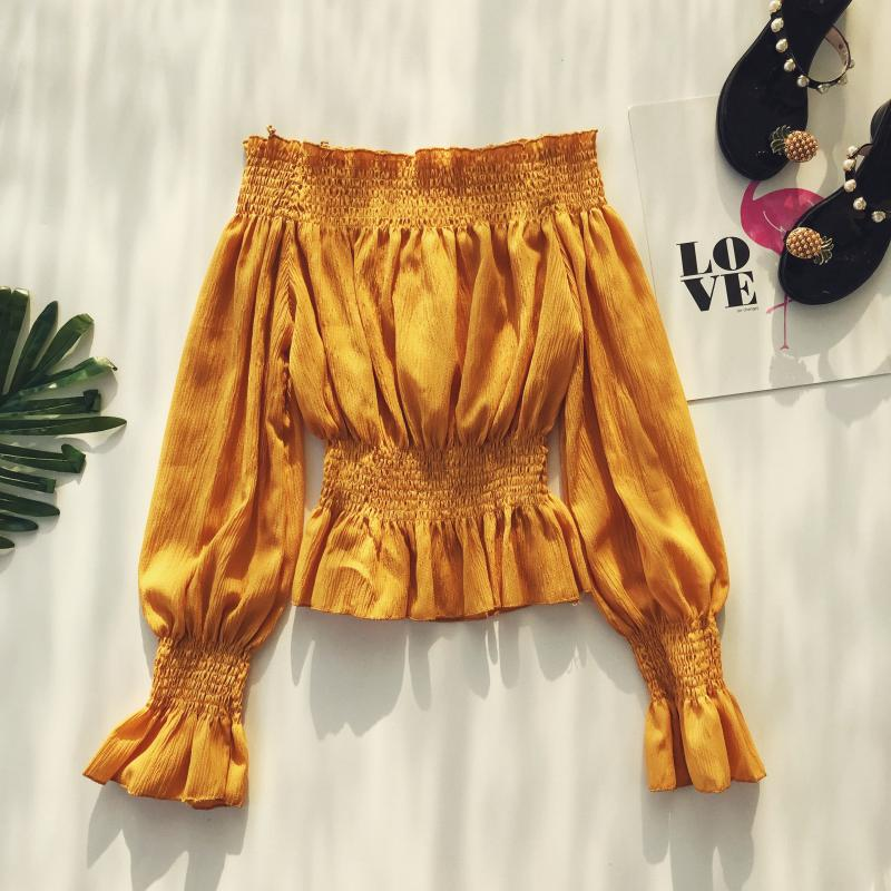 2019 spring new women pure color slash neck elasticity waist lantern sleeve blouses shirt female elegant sweet slim shirts tops 6 Online shopping Bangladesh