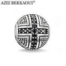 Cross Beads Silver Plated Ball Charms Fit For Pandora Bracelet Necklace Black Silver Beads Fashion Diy Beads For Jewelry Making
