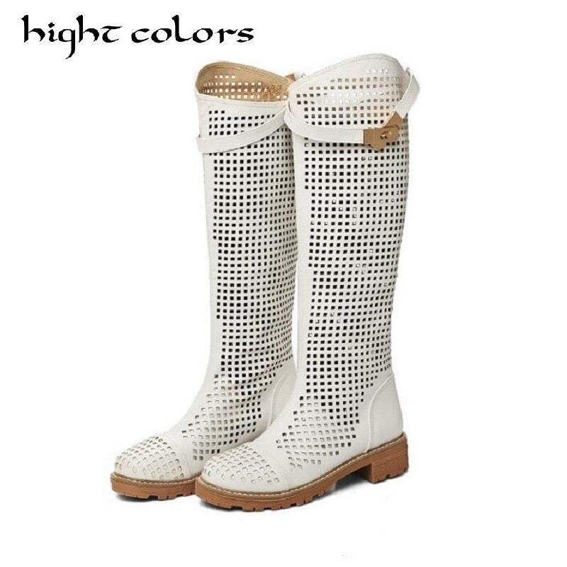 High Quality Fashion Laser Summer Spring Autumn Women Shoes High-leg Cutout Cool Boots Women Knee-High Boots  Plus Size 33-43<br>