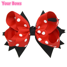 1PC 5 Inches Big Polka Dots Hair Bows Navy Blue Red Hairpin Stacked Boutique Kids Bows Hair Clips For Girls Hair Accessories