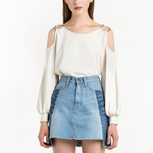 Summer Women Fashion Iron ring Blouse Off Shoulder Blouse White Yellow Long Sleeves blouse Plus Size for Womens(China)