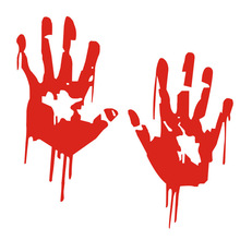 Zombie Bloody Hands Print Fun Vinyl Car Sticker Motorcycle Window Decal Accessories Red(China)
