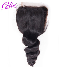 Celie Brazilian Loose Wave Closure Remy Hair 4x4 Swiss Lace 130% Density Free Part 100% Human Hair Lace Closures Free Shipping(China)