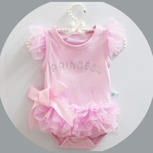 Buy Summer Cotton Baby Rompers Boys Infant Toddler Jumpsuit Princess Pink Bow Lace Baby Girl Clothing Newborn Bebe Overall Clothes for $6.29 in AliExpress store