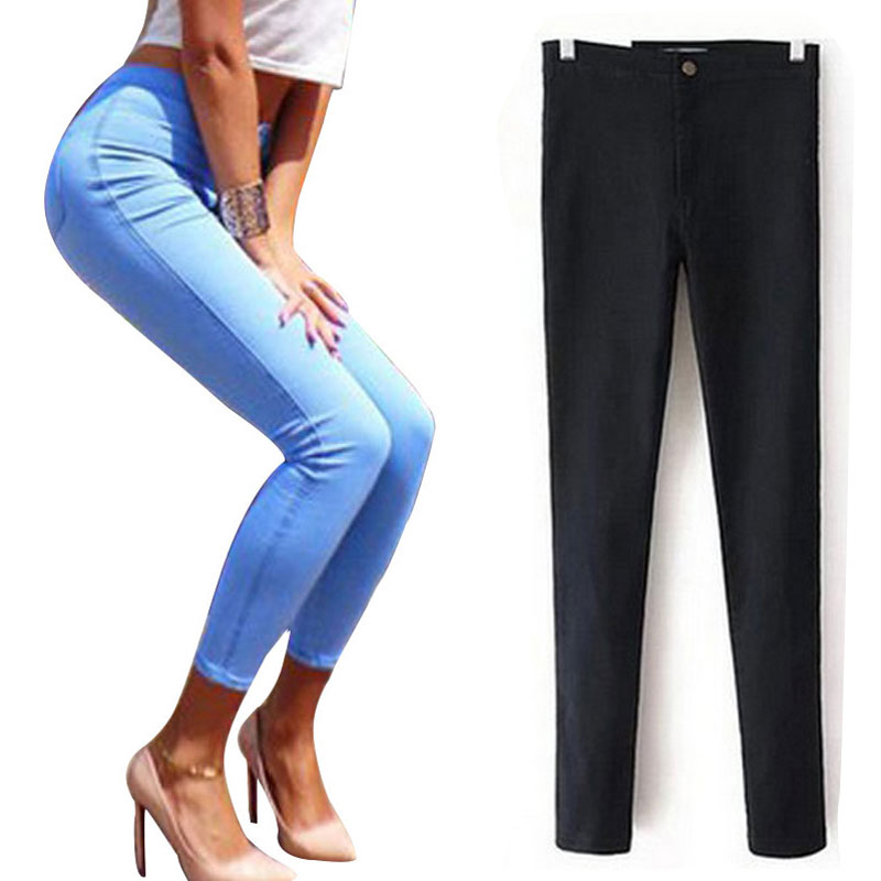 Slim High Waist Jeans Black 2017 Jeans Woman Elastic Skinny Womens Jeans Female With High Waist Denim Jeans For Women Femme UpОдежда и ак�е��уары<br><br><br>Aliexpress