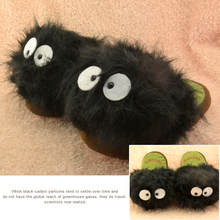 "Official My Neighbor Totoro 5pair 11"" Ghibli Dust Bunny Plush Slipper Totoro slippers BLACK totoro dust bunny slippers(China)"