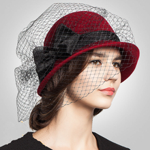 Sinamay Fascinators 100% Wool Hat Elegant Black Wine Red Ladies Veil Hat