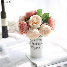1 Bouquet 5 Heads Vintage Artificial Peony Silk Flower Wedding Home Decor party decoracion artificial roses wedding decoration(China)