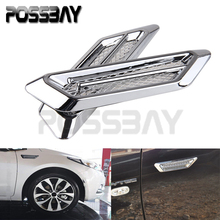 Black/Silver 1 Pair Universal Car Air Intake Flow Vent Fender Decoration Stickers Side Mesh Cover Hood Bonnet ABS Car Styling