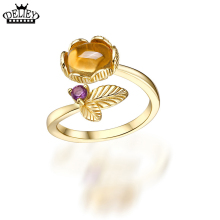 DELIEY Luxurious Oval Yellow Citrines & Amethysts Leaves Ring 925 Sterling Silver for Women Party Fine Jewelry High Quality Ring