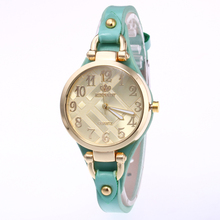 n Wrist watches for Women Buckle  Round Double dial dial Quartz Watch Leather Exquisite little leather belt wristwatch