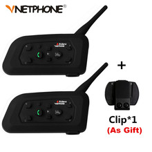 2PCS Vnetphone V6 Motorcycle Bluetooth 3.0 Helmet Intercom Headset 1200M Moto Wireless BT Interphone for 6 Riders Helmet Headset(China)