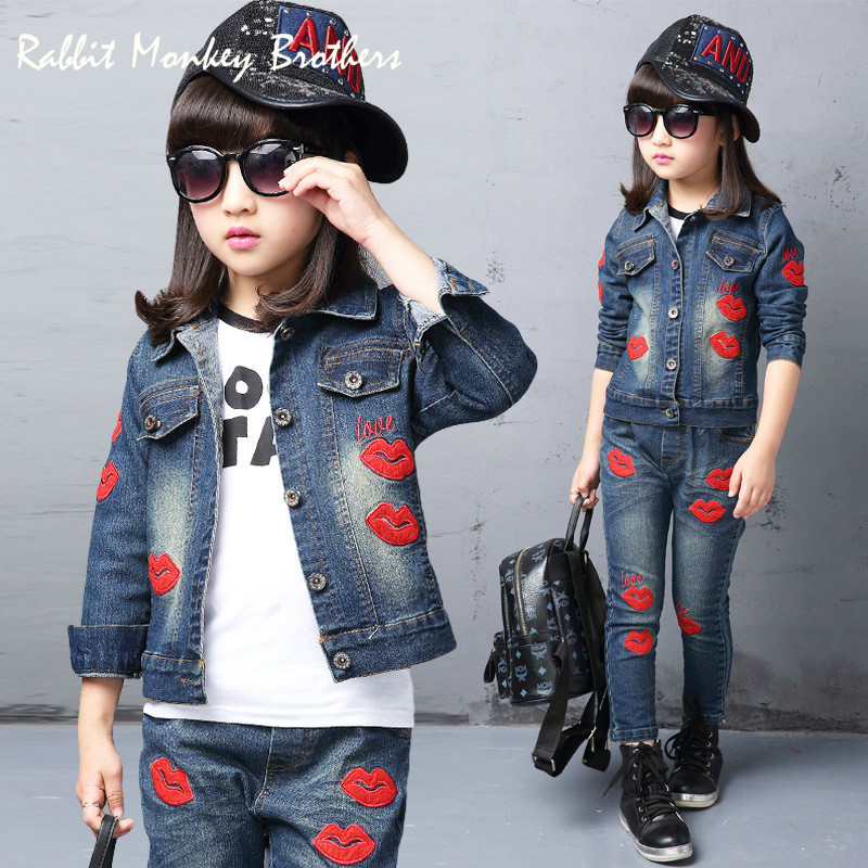 Spring fall Style Girls Red lips children clothing set Denim jacket + Jean pant 2 piece set For Kids Wear to 2 4 6 8 10 12 Year<br>