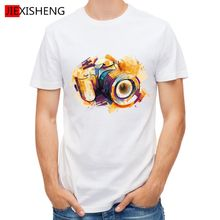 2016 Rushed Top O-neck No Summer Oil Painting Camera Design T Shirt Men's High Quality Custom Printed Tops Hipster Tees Gl175
