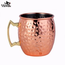 1Pcs 550ml 304 Stainless Steel Drum Type Moscow Mug Hammered Copper Plated Beer Mug Beer Cup Water Glass Drinkware(China)
