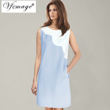 Vfemage Womens Elegant Colorblock Contrast Patchwork Pockets Lady Summer 2017 Casual Work Office Business Loose Shift Dress 6682(China)