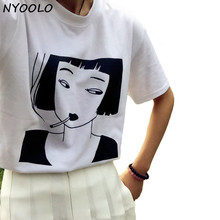 NYOOLO ulzzang Harajuku vintage 2016 summer girl avatar letters printed round neck short sleeve T-shirt women clothing Tops Tee