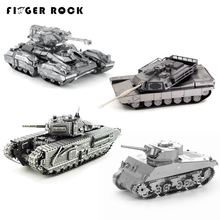 Finger Rock 3D Metal Puzzle Toys DIY Model Military Tiger Tank Jigsaws Metal Toys Present Gift 8 Styles for Adults Collections(China)