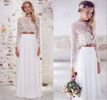 2017 Vintage Long Sleeve Lace Two Piece Sexy Beach Wedding Dress2017 Cheap Simple Wedding Dresses Bride Dress Lace Bridal Gown
