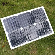 18V 20W Portable Solar Panel Car Battery Charger Universal W/Alligator Clip