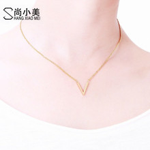 Minimal Stainless Steel Chain Chevron Initial V Necklace Women Gold Color Classical Design Jewelry Bijoux Femme Bridesmaid Gift