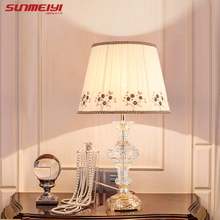 Foyer Reading sitting living room princess crystal glass table desk light European palace table lamp modern vintage table light(China)