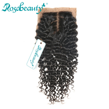 "Rosabeauty Brazilian Remy Hair Deep Wave Silk Base Closure 100% Human Hair 4""*3.5"" Siwss Lace with Bleached Knots Free Shipping"