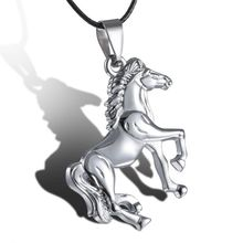 Horse Necklace Stainless Steel Vintage Collier Maxi Jewelry Choker Women Men Kolye Pendants Collares Leather Chain