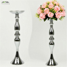 Silver Metal Candle Holders 50cm/20'' Stand Flowers Vase Candlestick As Road Lead Candelabra Centre Pieces Wedding Decoration(China)