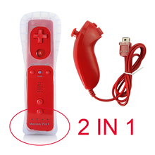 2 in1 Wireless Remote Controller Built in Motion Plus For Wii Remote and Nunchuk + Silicone Case Game Controller red color
