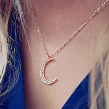 Muslim Crescent Pendant Necklace Yellow Long Necklace Cubic Zirconia CZ Islam Moon Star Jewelry Women Gift