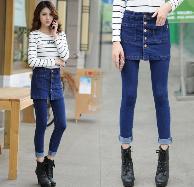 New Arrival Women Fake Two Pieces Jeans Pants Fashion Cotton Denim Elastic Pencil Pants Plus SizeÎäåæäà è àêñåññóàðû<br><br>