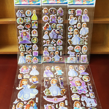 5pcs/lot Fashion Brand Kids Toys Cartoon Princess Sophia 3D Stickers Children girls PVC Stickers Bubble Stickers toy GYH