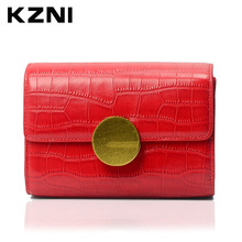 KZNI Woman Bags Luxury Designers Crocodile Women Genuine Leather Embossed Bag Female Imported Handbags Real Leather Purse 1389(China)