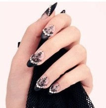 5pcs beauty 3D nail art lace sticker design foil polish stick women stickers on the nails of harajuku(China)