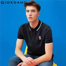 Giordano Men Polo Shirt Short Sleeves Ribbed Collar Polo Shirts Quality Lion Embroidery 3D Style Famous Clothing(China)
