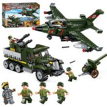 Military WW2 Duel Scene M31 Armored Car Vehicle Fighter Model Bricks Military Figures Blocks Toy Compatible With Enlighten
