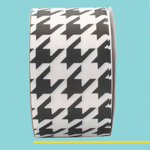 "3"" inch 75 mm 7.5cm White and black Houndstooth grosgrain ribbons"