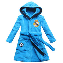 [FEETOO] Real Madrid Soccer Team Emblem Embroidered Boy Bathrobe Coral Velvet  Children's Nightgown