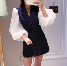 Autumn Hit Color Stitching Organza Fashion Personality Lantern Sleeve Double-breasted Jacket Lace Shorts Suit Set Blue Set(China)