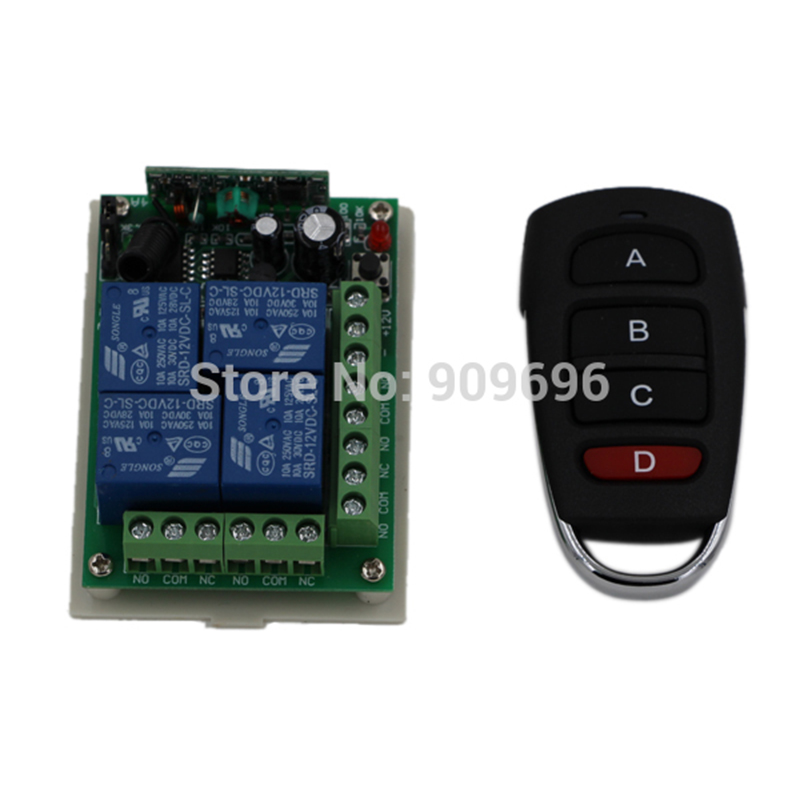 DC 12V 4 CH 4CH RF Wireless Switch Remote Control Switch System,315MHZ Transmitter Receiver<br><br>Aliexpress