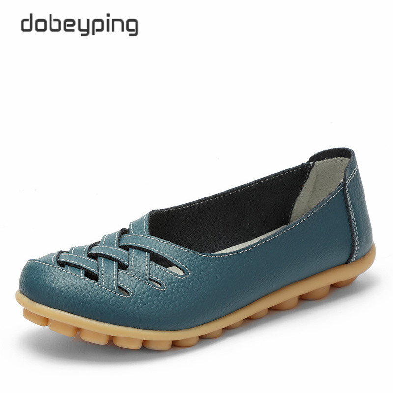 New Women's Casual Shoes Genuine Leather Woman Loafers Slip On Female Flats Leisure Ladies Driving Shoe Solid Mother Boat Shoes(China)