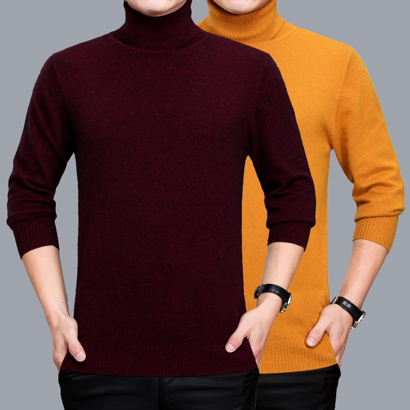 Mens turtleneck cashmere sweater autumn & winter male solid slim fit warm sweater high collar wool sweater jumper