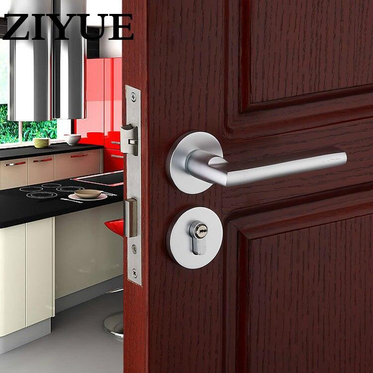 Free Shipping Silver White European Simple Space Aluminum Solid Split Door Lock Indoor Bedroom Wooden Mechanical Hardware Locks<br>