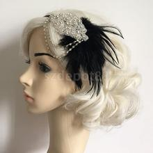 Sexy Bridal Feather Rhinestone Headband Flapper Fancy Dress Costume Headpiece Hair Decor Hair band Black