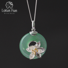 Lotus Fun Real 925 Sterling Silver Natural Green Stone Handmade Design Fine Jewelry Lotus Whispers Pendant without Necklace(China)