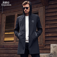 Enjeolon brand long jacket coat quality trench coat man plus size 3xl free shipping(China)