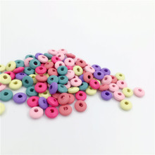 5x10mm Mixed Color Flat round Wooden Beads Fit Children Kids Handmade Jewelry Craft 100pcs