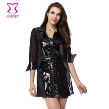 Corzzet Black PVC Leather Coat Halter Transparent Mesh Sleeve Sexy Gothic Plus Size Burleque Motorcycle Clubwear Gothic Clothing