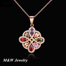M&W 2017 Real elegant set of AAA zircon pendant simple atmosphere European and American necklace factory direct jewelry M&WL3500